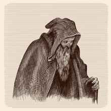 Beggar Old Man In A Dark Cloak...