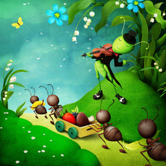 Fantasy illustration for fairy tale about cheerful grasshopper and hardworking ants.