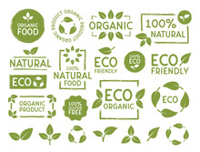 Set Of Eco, Bio, Organic And Natural Products Stickers, Labels, Badges And Logos. Ecology Icons Set. Logo Templates With Green Leaves For Organic And Eco Friendly Products. Vector Illustration