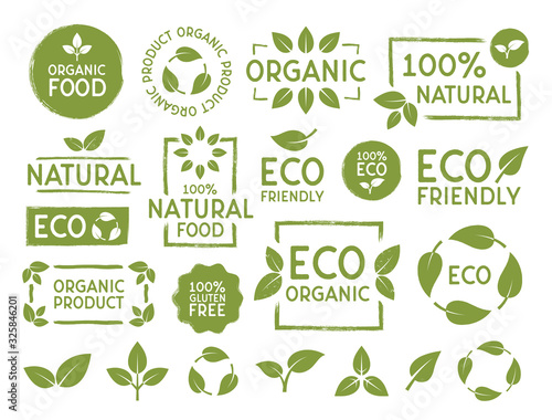 Obraz Set of Eco, bio, organic and natural products stickers, labels, badges and logos. Ecology icons set. Logo templates with green leaves for organic and eco friendly products. Vector illustration - fototapety do salonu