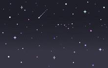 Pixel Art Star Sky At Night.