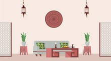 Oriental Style Decorated Living Room. Vector Flat Illustration Of Arabian Or Indian Style Designed Room.