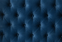 Quilted Velour Buttoned Classic Blue Color Fabric Wall Pattern Background. Elegant Vintage Luxury Sofa Upholstery. Interior Plush Backdrop