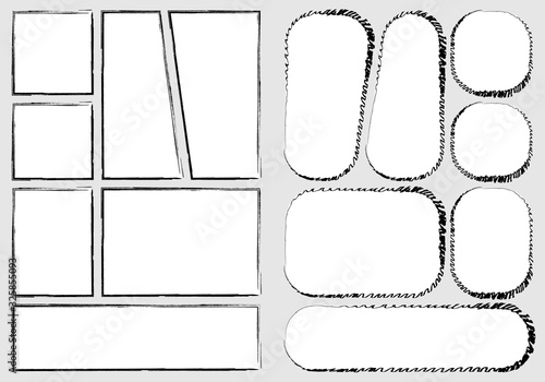 manga set storyboard layout template for rapidly create the comic book style. A4 design of paper ratio is fit for print out. Vector isolated frame handmade sketch style  - 325855093