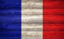 France Flag Wooden Plank Background