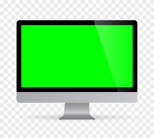 Realistic Desktop Computer Monitor With Green Screen And Checkerboard Background. Illustration Vector Illustrator Ai EPS