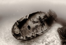 Sepia-toned Photograph Of The Famous Sunken USS Kittiwake (ASR-13) In Grand Cayman Island