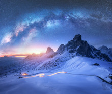 Milky Way Over Snowy Mountains...