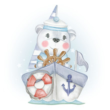 Baby Bear Sailor With Boat