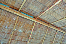 Thatched Roof, Traditional Thai Style Roof, Inside View, Selective Focus.