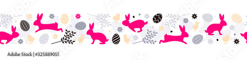 mata magnetyczna Easter bunny with easter eggs seamless pattern vector banner background isolated
