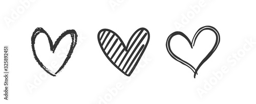 Obraz Heart doodles set. Hand drawn hearts collection. Romance and love illustrations. - fototapety do salonu