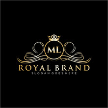 ML Letter Initial Luxurious Br...