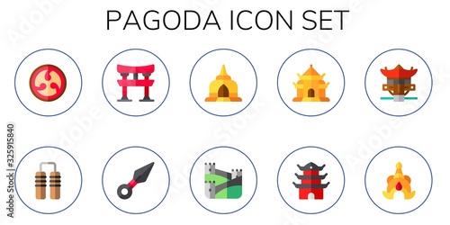 Valokuvatapetti pagoda icon set