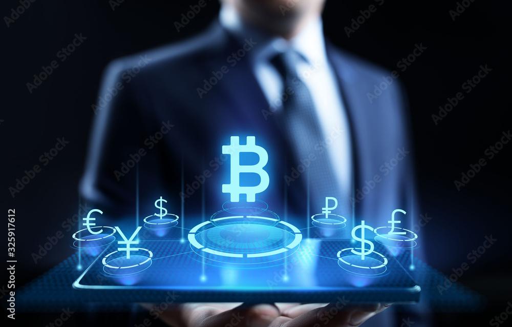 Fototapeta Bitcoin cryptocurrency digital money finance business technology concept.