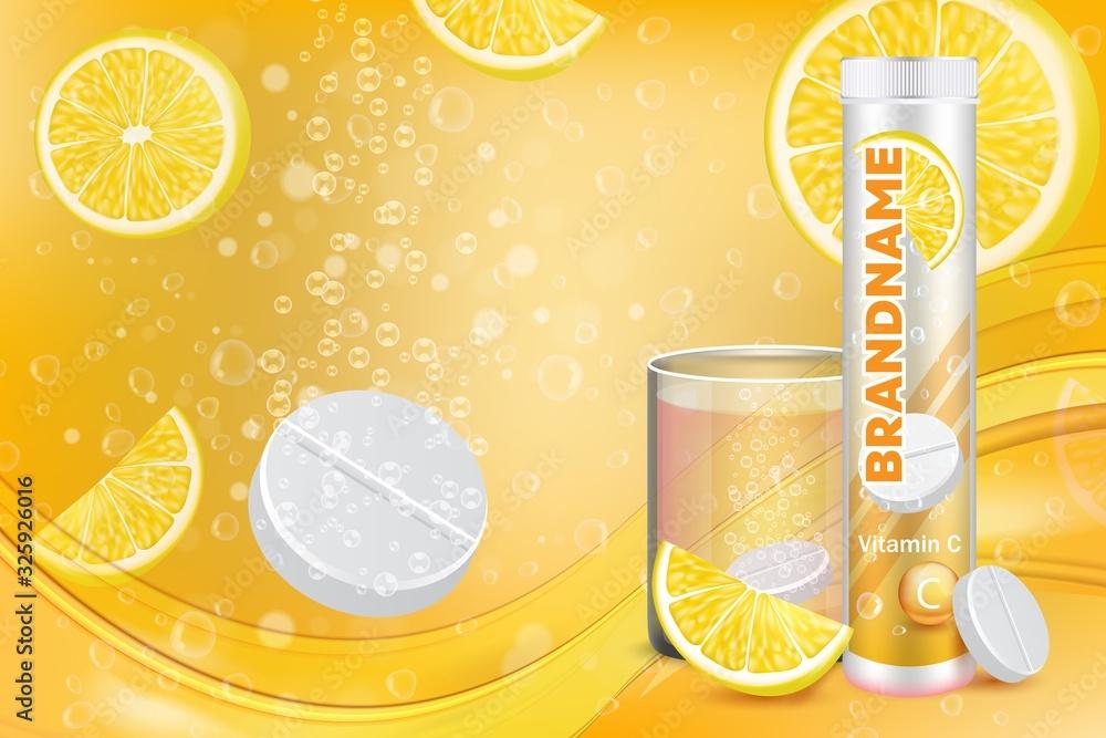 Fototapeta Effervescent vitamin C tablets advertising vector poster template