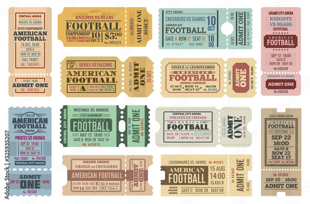 Fototapeta American football game tickets vector set with sport ball. Championship cup match admit one coupons, competition event of stadium or sporting arena retro invitations or access cards