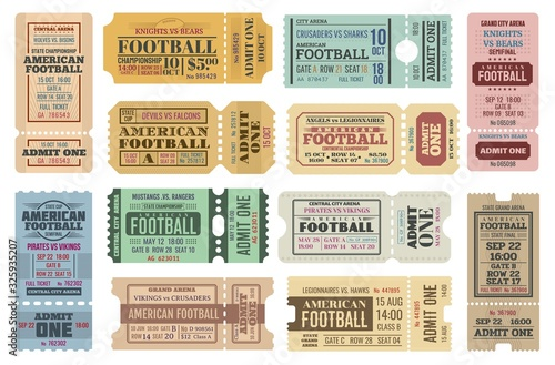 Fototapeta American football game tickets vector set with sport ball. Championship cup match admit one coupons, competition event of stadium or sporting arena retro invitations or access cards obraz