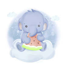 Baby Elephant And Watermelon Fruit