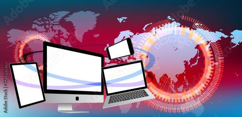世界とつながるノートパソコンとスマホとタブレット-赤色背景 Canvas Print