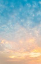 Beautiful Sunset Clouds. Strato Cumulus Clouds.
