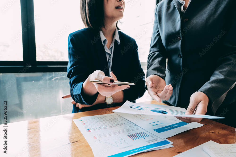 Fototapeta Business People Analyzing Statistics Business Documents, Financial Concept