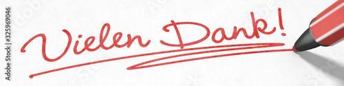 Cuadros en Lienzo Vielen Dank! mit rotem Stift geschrieben