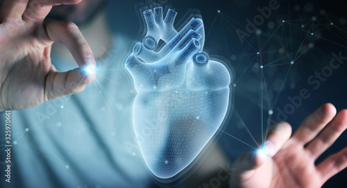 Man using digital x-ray of human heart holographic scan projection 3D rendering Fototapeta