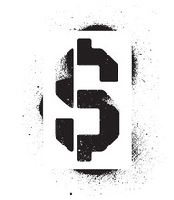 Stencil Dollar Sign Inscriptio...