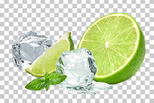 Ice Cubes With Lime / Ice Cube...