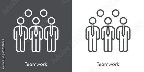 Concepto de negocios. Símbolo de trabajo en equipo. Icono plano lineal en fondo gris y fondo blanco