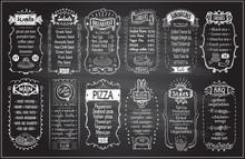 Chalk Menu Set On A Blackboard - Sweets, Salads, Breakfast, Starters, Sandwiches, Etc.