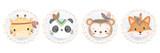 Fototapeta Child room - cute animal illustration, animal clipart, baby shower decoration, woodland illustration.