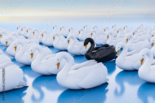 Fotografie, Obraz 3d render: Black swan event - term for a very seldom event with a major effect often resulting in a stock market crash