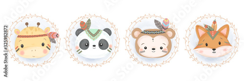 cute animal illustration, animal clipart, baby shower decoration, woodland illustration.