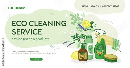 Obraz Template for the landing page for the eco cleaning service. Hand with a spray gun, jars, flowers on an abstract cloud. Banner for non-toxic house cleaning. Concept of green home. Vector illustration. - fototapety do salonu