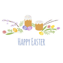 Happy Easter Isolated With White Background. EPS 10 Vector Royalty Free Stock Illustration For Greeting Card