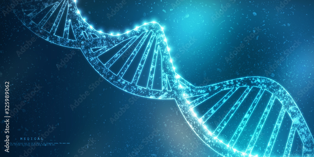 Fototapeta 2d render of dna structure, abstract background