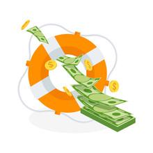 Flow Of Flying Money In Lifebuoy. Dollars In Ring Buoy.