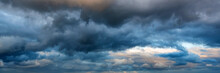 Dramatic Panoramic Skyscape With Dark Stormy Clouds