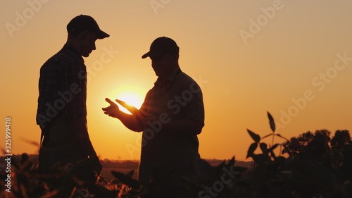 Fotografia A farmer extends his hand for a handshake to a young worker