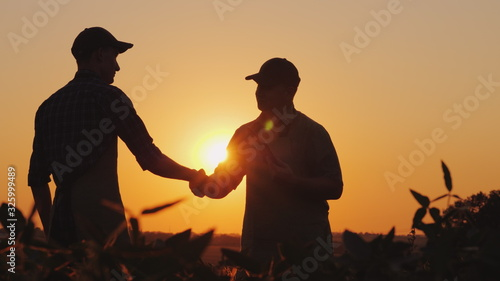 Photo Two farmers talk on the field, then shake hands. Use a tablet