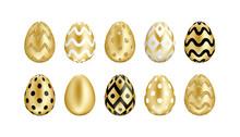 Easter Golden Eggs Set. Realis...