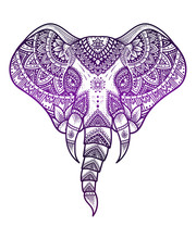 Elephant Head With Mandala Pattern Style,gradient Color On White Background-vector Illustration Design