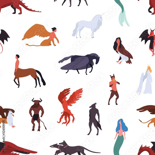 Mythical creatures seamless pattern isolated on white background Poster Mural XXL