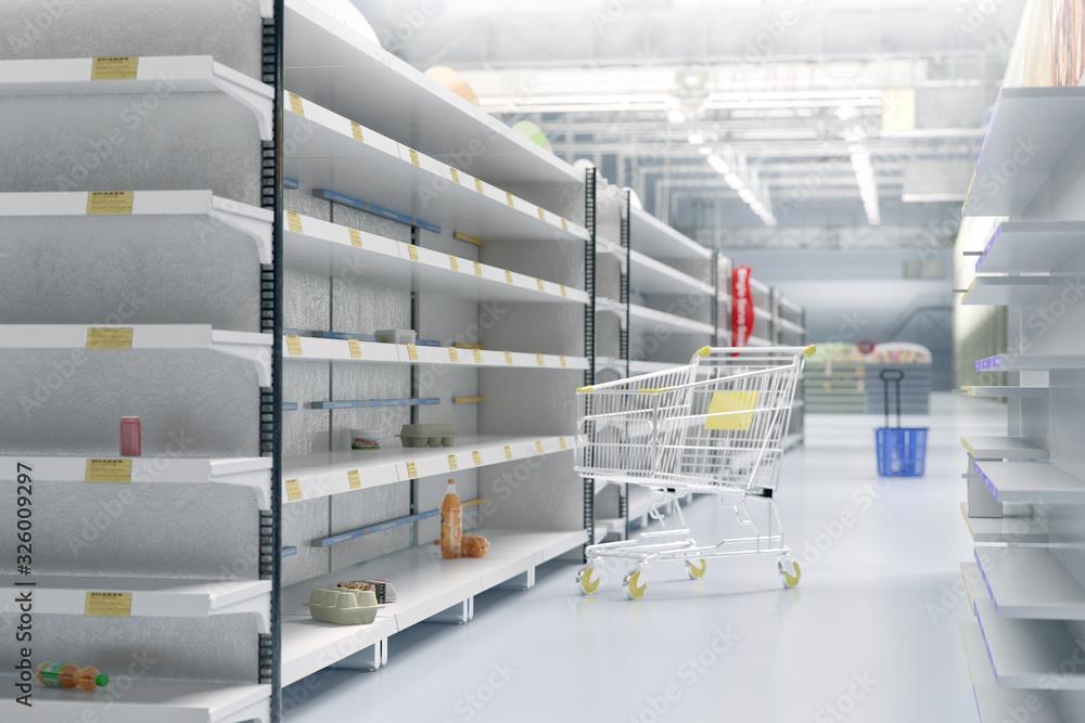 Fototapeta Empty shelves in supermarket store due to coronavirus