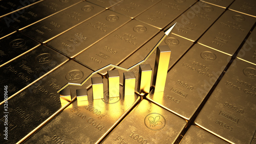 Obraz The price of gold on the stock exchange is rising. 3d illustration. - fototapety do salonu