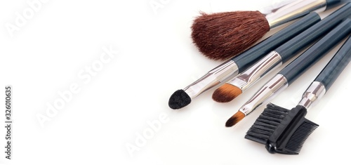 A set of brushes for makeup on a white background Canvas Print
