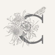 Decoration With Letter C, Decorative Herbs, Peonies Flowers And Bird.