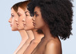 Leinwandbild Motiv Beautiful multiracial women with perfect skin